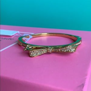 Kate Spade Gold Bow Bangle with Gems